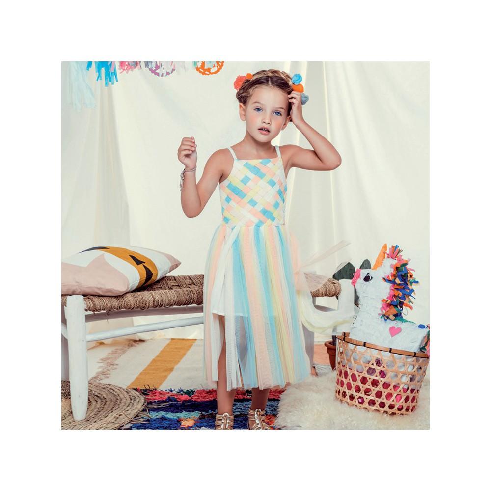 vestito-tulle-trecce-multicolore billieblush smallable