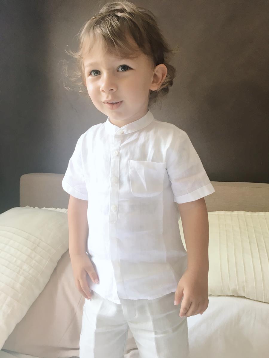 camicia e bermuda lino beige bimbo