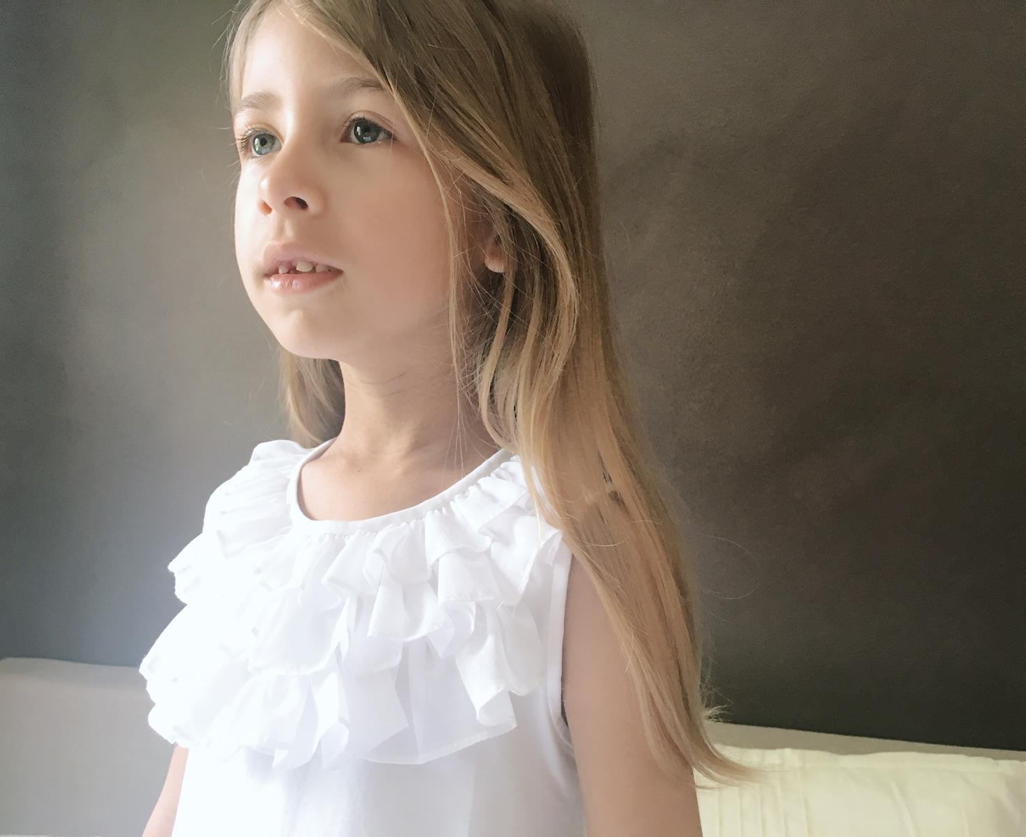 top bianco volant bambina