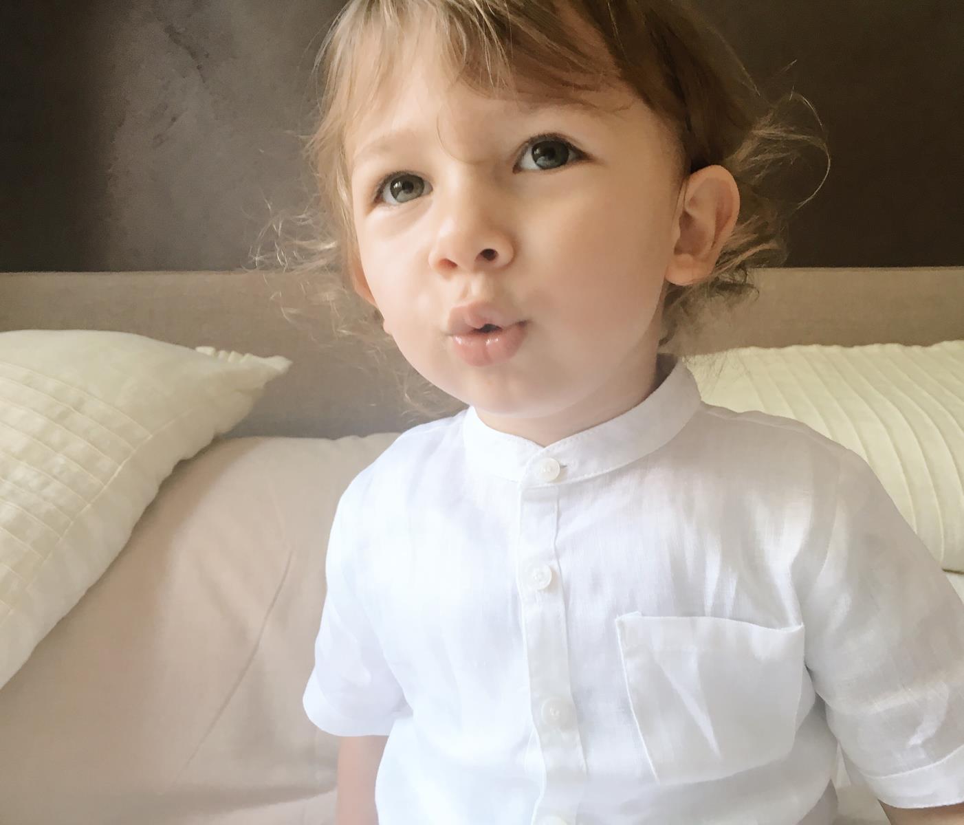 camicia bianca lino collo alla coreana bimbo