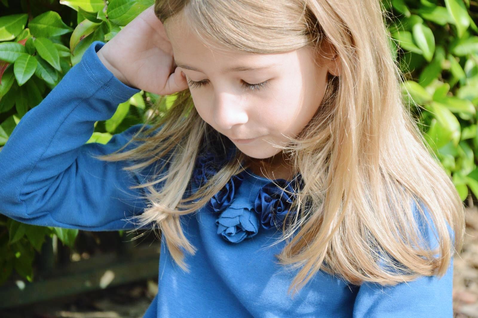 vestito blu jersey cotone bambina